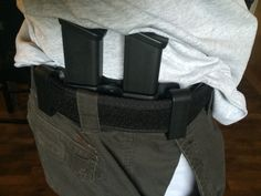 Dual Glock mag inside the waistband (IWB). For left handed shooter. Kydex, Holsters, Left Handed, Tactical Gear, Bags, Handbags, Bag, Totes, Hand Bags