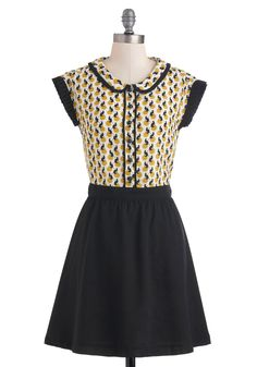 Cat's More Like It Dress by Dear Creatures - Mid-length, Black, Yellow, White, Print with Animals, Buttons, Peter Pan Collar, Casual, Twofer, Cap Sleeves, Scholastic/Collegiate