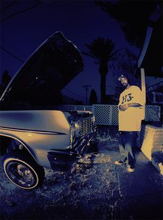 """MC Eght: """"This is a set up shot for one of the album covers I photographed for Eiht. The first time we shot was for the Menace II Society film, his breakout role. This is LA, Low Low, 213 Tee and Eiht!"""" -Michael Miller"""