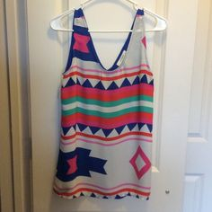 Umgee Aztec Print Tank Fun and colorful Aztec top (65% cotton, 35% polyester) Umgee Tops Tank Tops
