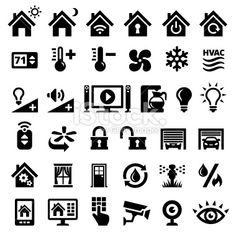 Home Automation Black and White royalty free vector interface icons Royalty Free…