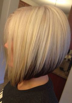 Graduated blonde bob with brunette underneath.