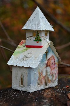 good idea using old christmas cards - Vintage Christmas Card Glitter House Church Illuminating Ornament One Of A Kind. $10.00, via Etsy.
