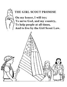 Girl Scout Promise Coloring Sheet Halbrooks-Richter - Have Ky start practicing :) Girl Scout Daisy Activities, Girl Scout Crafts, Girl Scout Law, Girl Scout Leader, Coloring Sheets, Coloring Books, Girl Scout Levels, Girl Scout Promise, Girl Scout Juniors