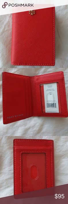 NWT Tory Burch Card Case Robinson Red Wallet Brand new with tags Tory Burch card case in Poppy Red. ⚓️No trades or holds. I accept reasonable offers. I only negotiate through the offer button. I do not model. I ship within two business days of your order. I only use Posh. 🚭🐩 B3 Tory Burch Bags Wallets