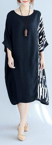 9aff8cc8d74e0 women black pure cotton dresses Loose fitting holiday dresses vintage half  sleeve prints clothing dresses