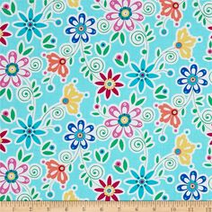 From Michael Miller, this cotton print fabric features colorful, simple floral designs that add a charming feel to the fabric. Perfect for quilting, apparel and home decor accents. Colors include white, yellow, green, peach and shades of pink and blue.