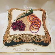 A large pillow cake requested with purple roses, edible bangles in purple/orange and a fondant mehndi cone for the lovely… Beautiful Indian Brides, Beautiful Wedding Cakes, Henna Cake Designs, Mehndi Cake, Pillow Cakes, Cake Decorating Designs, Fondant Rose, Food Snapchat, Bridal Photography