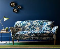 With its dramatic undulating design, The Wave is reminiscent of the work of the painter Hokusai. This contemporary design is available in 3 colourways. Upholstery Cushions, Upholstered Sofa, Fabric Sofa, Blue Velvet Curtains, Blue Velvet Sofa, Contemporary Interior, Modern Interior Design, Linwood Fabrics, Free Fabric Samples