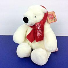 "Boyd's Coca Cola Polar Bear Plush Beanie Animal Red Scarf 6"" Sitting Hang Tag #CocaColaBoyds"