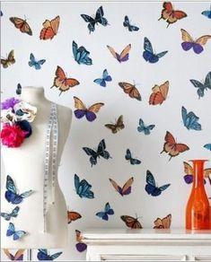 Walplus Wall Art Autocollant Décalque Coloré Papillons Avec Cristaux Swarovski