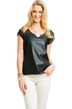 $16 at www.heavenlycouture.com  Pleather Top Sheer Back in Black