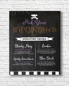 Pick Your Poison Halloween Chalkboard Sign | Faux Chalkboard Drink Menu | Halloween | Something Old, Something New Drinks | Printable