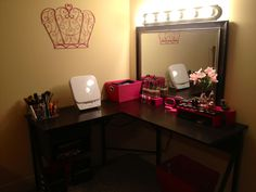 DIY Vanity! Cheaper and easier than buying one, and totally customizable! Just use any desk, a large mirror, then go to any hardware store to buy broadway lights. It requires easy wiring from the light fixture to a power adapter so that you can convert it to be able to plug into an outlet. I also bought a power strip and used industrial Velcro to place it under the desk top for all the cords. I use the power switch to control the electricity for everything without unplugging from the wall!