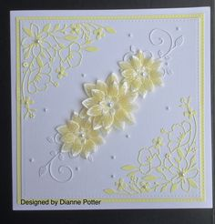 By Dianne Potter:Memory Box Wildflower Corner die,Heartfelt Creations Sun kissed fleur die and stamp set,heat embossed on vellum,coloured on reverse with Promarkers,Sue Wilson Noble square die,Creative Expressions pearl gems,done for a yellow and white themed wedding...