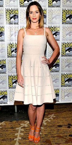 Emily Blunt in perfectly perforated Dior