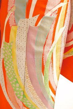 antique orange kimono fabric