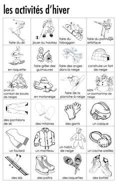 Madame Belle Feuille - winter activities French vocabulary, free printable