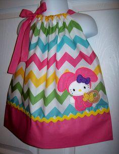 Hello Kitty Easter Bunny Pillowcase Dress Chevron Easter Dress. $28.00, via Etsy.