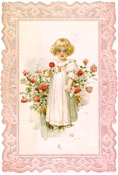 Wings of Whimsy: Rose Girl in Pink Lace Frame No 2 of 2 #vintage #ephemera #freebie #printable #lace #rose #girl #png
