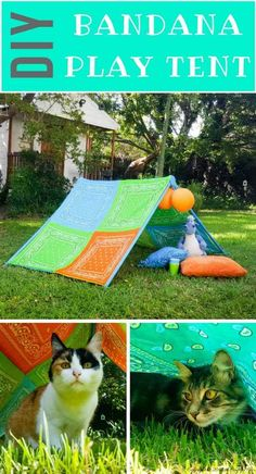 DIY Bandana play tent. A perfect little hide-away for the kids this summer. #kids #bandana #playtent #summertime #bandanacrafts #bandanaideas ##acraftymix #DIYTutorial #howtomake