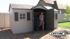 Lifetime Garden Sheds 60079 15 x 8 ft Dual Entry Plastic Storage Shed