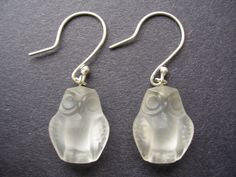 Vintage Austrian Crystal Frosted Owls Sterling by HannahGreatwood