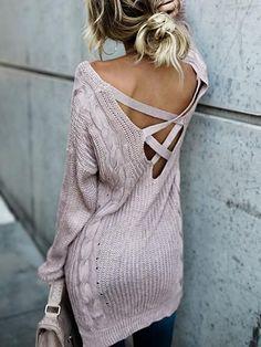 Chicnico Sexy Halter Solid Color Sweater