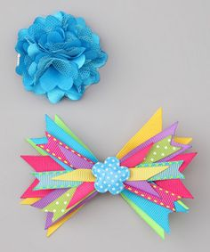 Hannah's Bowtique Turquoise Confetti Bow Set on #zulily