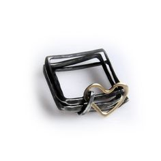 Square ring with heart - 18kt gold and sterling silver