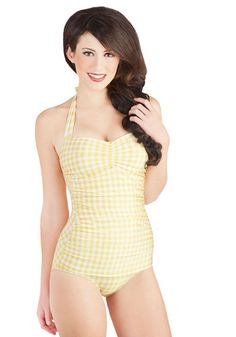 Bathing Beauty One Piece in Yellow Gingham, #ModCloth
