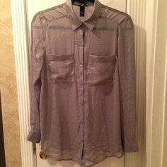 Silver Shimmer Chiffon Long Sleeve Brand new never worn long sleeve button down. Has a shimmer in the chiffon. H&M Tops