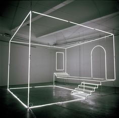 Massimo Uberti, Uno studio, 2003, neon e steel cables, 360 x 500 x 500 cm Love this