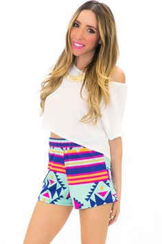 TRIBAL GEO SHORTS - Mint | Shop this at www.hauteandrebellious.com