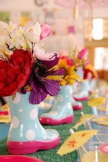 rainboots for centerpieces