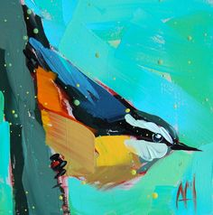 Nuthatch no. 22 original bird oil painting Angela Moulton prattcreekart