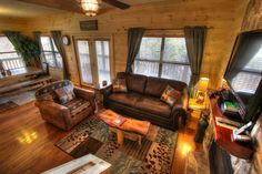 Sasquatch Ridge Pigeon Forge vacation rental cabin rustic living and dining areas