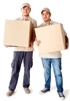 12198256 - delivery men carrying boxes - isolated over a white background