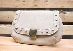 Beige Studded Party Bag with detachable chain // $32.99 // shopboldthreads.com // #bold #threads #boldthreads #purse #clutch #accessories #fashion #beige #studs #studded