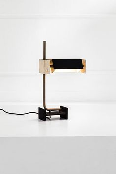 Anonymous; Enameled Metal and Brass Table Lamp, 1960s.
