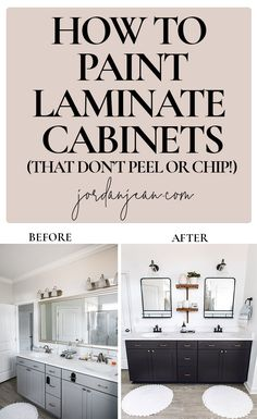How to Paint Laminate Cabinets - Jordan Jean Painting Laminate Kitchen Cabinets, Formica Cabinets, Melamine Cabinets, Painting Laminate Furniture, Painting Bathroom Cabinets, Diy Kitchen Cabinets, Kitchen Paint, Kitchen Redo, Kitchen Remodel