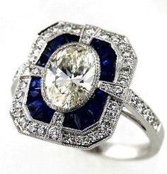 Art Deco Diamond & Sapphire Ring
