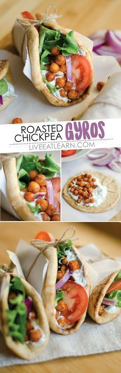This Roasted Chickpea Gyros recipe is a simple and delicious Mediterranean inspired wrap with refreshing tzatziki sauce. The perfect vegetarian lunch or dinner! // Live Eat Learn
