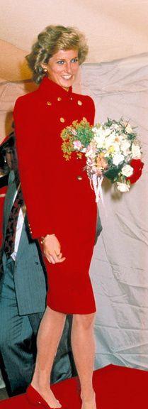 Princess Diana in red