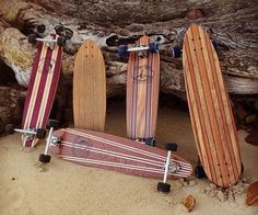 Handcrafted longboard skateboards made out of premium exotic and Hawaiian woods. Koa iPhone veneers, Koa Moleskines and more!