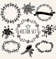 Hand drawn set vintage style design elements vector by Dimasic50 on VectorStock®