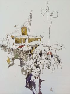 Lagos Market, Nigeria, 2010, The Times online, 'Drawn to Africa' exhibition catalogue; pen and ink. George Butler. 'My work is based entirely on travelling, reportage and the location drawing. The more obscure the subject the better it is.'