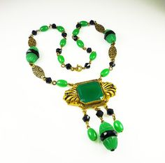 Art Deco Necklace Green Black Glass Bead Gilt by zephyrvintage