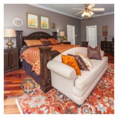 I Love a sofa at the foot of the bed  #charmainewynterinteriors #dallas #instagramoftheday #instagram #wynterinteriorsinc #texas #southernliving #bedroom #orange #color #chocolate #interiors #interiordesign #homedecor #rooms #grey #gray #master #suite #hotel #like4follow #southlake #awardwinningdesigner #pattern #fourposter #adlovescolor #housebeautifulmagazine #housebeautiful #countrylivingmag