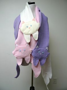 MARIA ROSE kitty fleece scarf by june22 on Etsy